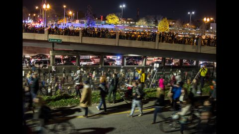 Trump protesters march toward Interstate 94 in Minneapolis on November 10.