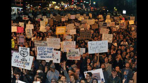Demonstrators protest in Denver on November 10.