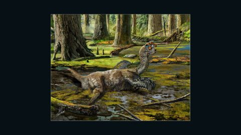 """An artist's impression of the feathered Tongtianlong limosus or 'mud dragon' dinosaur.<a href=""""http://cnn.com/2016/11/11/world/dinosaur-china-dynamite-construction-workers/"""">  A paper on its discovery</a> was published in Nature Scientific Reports on November 10, 2016."""