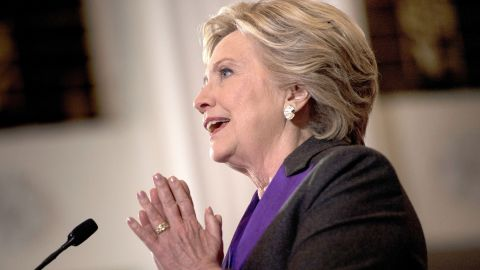 Former Democratic US Presidential candidate Hillary Clinton speaks to staff and supporters at the New Yorker hotel after her defeat in the presidential election November 9, 2016 in New York. / AFP / Brendan Smialowski        (Photo credit should read BRENDAN SMIALOWSKI/AFP/Getty Images)