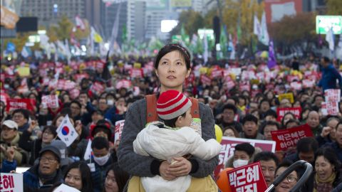 Songs and speeches are a part of Saturday's protests in downtown Seoul.