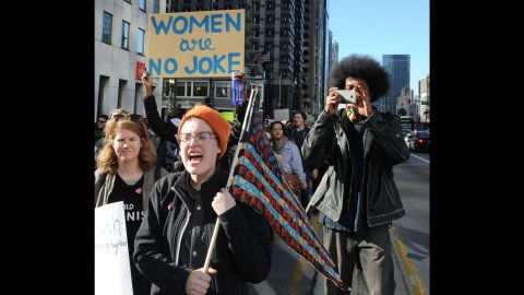 Demonstrators march to Trump Tower in Chicago on November 12.