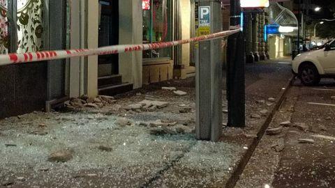 Damage on a Wellington street after the quake.