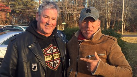 Dan Barkalow, a member of the Freehold American Legion - Monmouth Post 54, saw a motorcycle rider stranded by the road in need of assistance. The stranded rider was Bruce Springsteen.