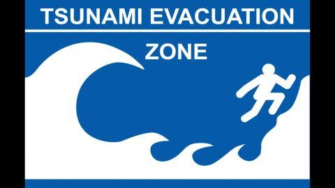A tsunami evacuation zone sign from Hawaii.