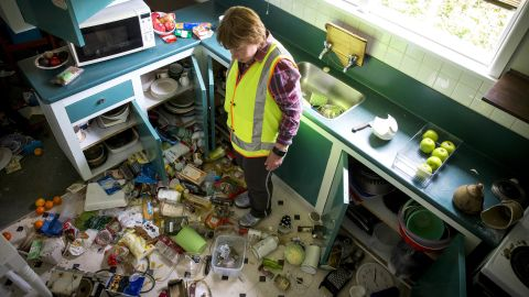 Mary Kimber stands in her kitchen following the earthquake on November 14, 2016.