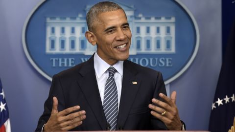 President Barack Obama speaks during a news conference in the Brady press briefing room at the White House in Washington, Monday, November 14.
