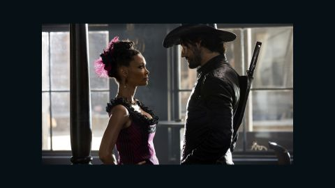 """HBO's """"Westworld"""" takes place in a futuristic Western-themed amusement park for rich vacationers looking to act out fantasies with robotic hosts and no fear of consequences. """"Host"""" Maeve Millay (Thandie Newton, at left with co-star Rodrigo Santoro) is the madam of a saloon and brothel, where her employees are some of the most popular attractions. Click through our gallery to see more depictions of robot sexuality on film."""