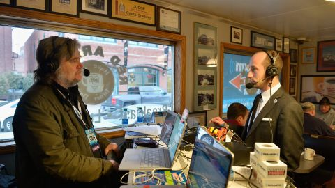 Miller was interviewed by Steve Bannon during his coverage of the 2016 New Hampshire primary.