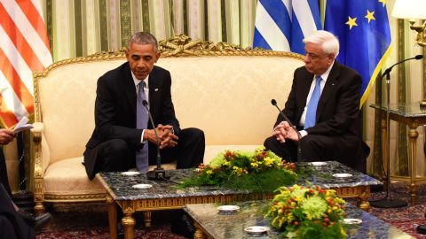 """Obama meets with Greek President Prokopis Pavlopoulos at the presidential mansion in Athens on Tuesday, November 15. <a href=""""http://www.cnn.com/2016/11/15/politics/obama-greece-news-conference/index.html"""">Obama called Greece a """"reliable ally""""</a> in its commitment to NATO, even as the country faces tremendous strain from its debt crisis."""