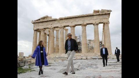 Obama tours the Acropolis in Athens on November 16.