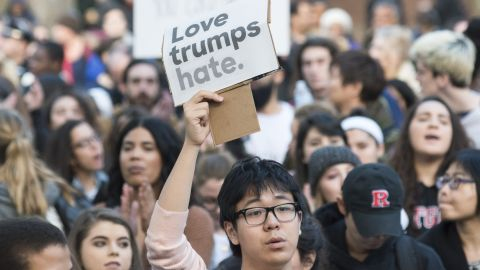 """Nearly 1,000 students and faculty members at Rutgers University staged a rally in downtown New Brunswick, New Jersey, to protest President-elect Donald Trump on Wednesday, November 16. <a href=""""http://www.cnn.com/2016/11/10/politics/election-results-reaction-streets/index.html"""" target=""""_blank"""">At least 25 US cities</a> have seen protests since Trump won the presidential election."""