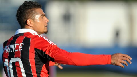 """AC Milan's former Ghanaian defender Kevin-Prince Boateng picked up the ball, kicked it towards the stands and walked off the pitch during a friendly against Pro Patria in Busto Arsizio on January 3, 2013 because of racists chants from home supporters. """"Shame that these things still happen,"""" the 25-year-old German-born Ghanaian player said on his Twitter account. The match was stopped in the 26th minute when he led his team off the pitch."""
