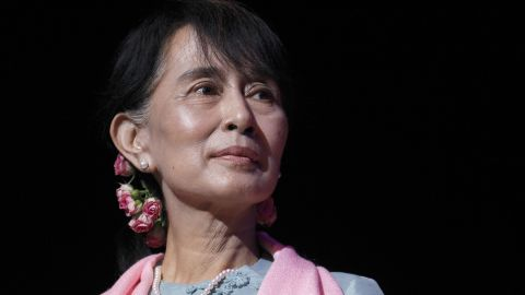LONDON, UNITED KINGDOM - JUNE 22:  Myanmar pro-democracy leader Aung San Suu Kyi speaks during a meeting with members of the Myanmar community at the Royal Festival Hall on June 22, 2012 in central London, England. Burmese opposition leader Aung San Suu Kyi is on a four-day visit to the UK during her first trip to Europe since 1988.  (Photo by Suzanne Plunkett - WPA Pool/Getty Images)