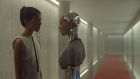 """In the film """"Ex Machina,"""" Kyoko (Sonoya Mizuno, left) is a humanoid robot and servant to a software company CEO. Unlike fellow robot Ava (Alicia Vikander), she is programmed to be obedient, can't speak and does whatever her creator wishes."""