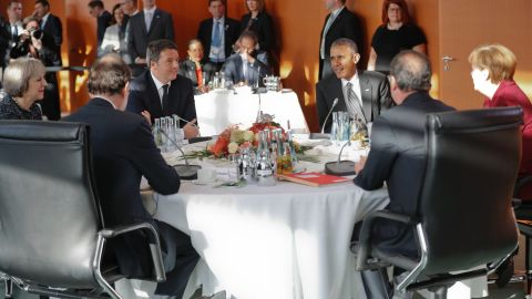 Obama meets with, from left, British Prime Minister Theresa May, Spanish Prime Minister Mariano Rajoy, Italian Prime Minister Matteo Renzi, French President François Hollande and German Chancellor Angela Merkel at the German Chancellery in Berlin on November 18.