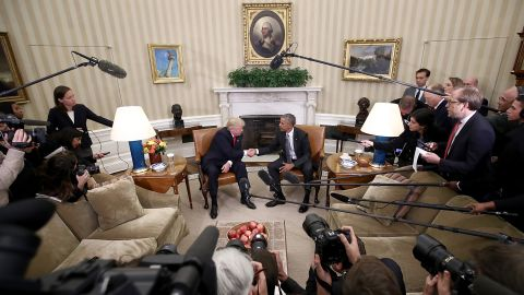"""Trump shakes hands with President Barack Obama following <a href=""""http://www.cnn.com/2016/11/10/politics/donald-trump-obama-paul-ryan-washington/"""" target=""""_blank"""">a meeting in the Oval Office</a> on November 10. Obama told his successor that he wanted him to succeed and would do everything he could to ensure a smooth transition."""