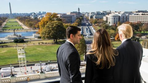House Speaker Paul Ryan shows Trump and his wife, Melania, the Speaker's Balcony at the US Capitol on Thursday, November 10.