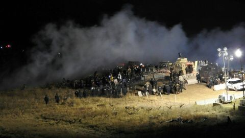 An estimated 400 protesters attempted to cross the bridge to go north on highway 1806.