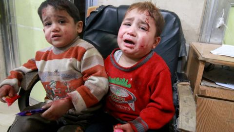 Wounded kids wait to receive medical treatment at the Sahra hospital on November 17.