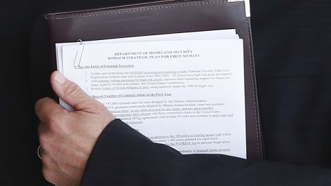 The document Kansas secretary of state Kris Kobach is holding during a photo-op with President-elect Donald Trump on Sunday in Bedminster, NJ. (AP Photo/Carolyn Kaster)