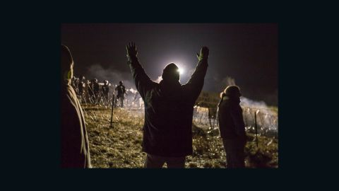 Police unleashed a water cannon on people protesting the Dakota Access Pipeline in North Dakota.