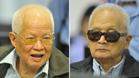 Former senior Khmer Rouge leaders Khieu Samphan and Nuon Chea facing court in Phnom Penh in 2011.
