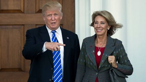 President-elect Donald Trump and Betsy DeVos after their meeting at Trump International Golf Club, November 19, in Bedminster Township, New Jersey. Trump has offered her the Education Secretary.