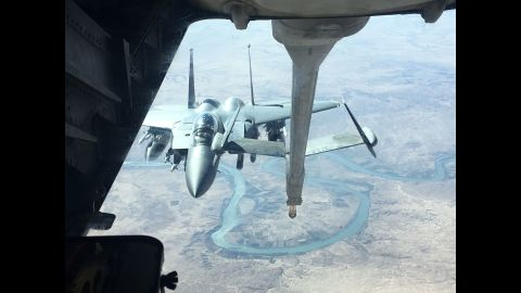 These tankers are a vital support vehicle for planes flying missions against ISIS, allowing them to remain in the area battling the militants for up to seven hours.