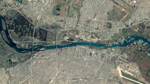 A Google Earth satellite image taken before the operation shows Mosul's five bridges spanning the Tigris River.