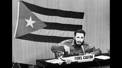 Castro announces general mobilization after the announcement of the Cuban blockade by President John F Kennedy in October 1962.