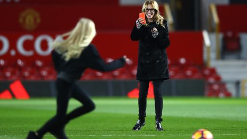 While United boss Jose Mourinho was sent from the touchline to the stands, Roberts did the opposite, taking to the field with her family after the game.