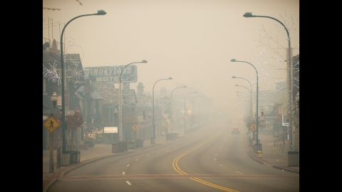 Thick smoke looms in Gatlinburg, Tennessee, on Monday November 28.