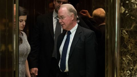 Rep. Tom Price gets into an elevator at Trump Tower, November 16, 2016 in New York City.