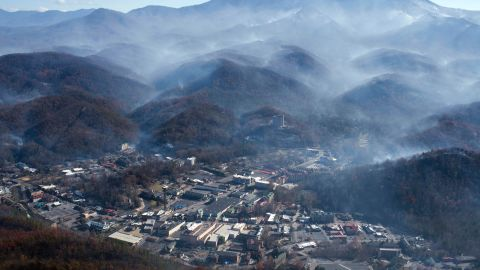 Nov 28, 2016; Gatlinburg, TN, USA;  An aerial view shows Gatlinburg the day after a wildfire hit the city. Mandatory Credit: Paul Efird/Knoxville News Sentinel via USA TODAY NETWORK *** Please Use Credit from Credit Field **