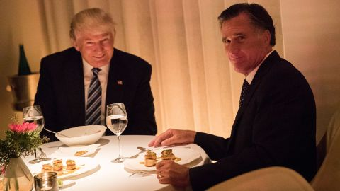 """Trump and former Massachusetts Gov. Mitt Romney <a href=""""http://www.cnn.com/2016/11/29/politics/donald-trump-mitt-romney-jean-georges/"""" target=""""_blank"""">share a meal in New York</a> on Tuesday, November 29. Romney was reportedly in the running for secretary of state."""