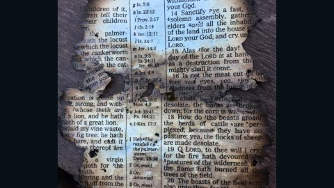 The burned page features a fire reference from the first chapter of the book of Joel.