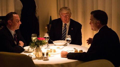 Reince Priebus, incoming White House Chief of Staff, President-elect Donald Trump and Mitt Romney dine at Jean Georges restaurant, November 29, 2016 in New York City.