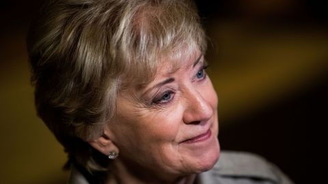 Linda McMahon, former CEO of World Wrestling Entertainment (WWE), speaks to reporters at Trump Tower, November 30, 2016 in New York City.