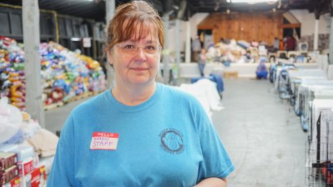 Karen Summerville, of the Sevier County Humane Society, has managed an outpouring of volunteers coming to  help care for animals displaced by the wildfires.