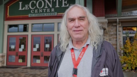 Alan Sheets, a Red Cross volunteer and manager at shelter during the Tennessee fires, has traveled all over the Southeast volunteering for the Red Cross.