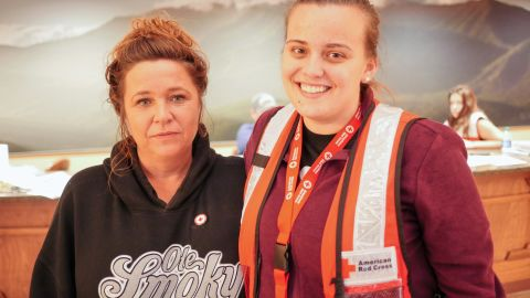 Stacy Humphrey, left, and Kellie Pellillo  have been volunteering since Monday at shelters in Pigeon Forge.