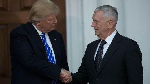 President-elect Donald Trump shakes hands with retired United States Marine Corps general James Mattis after their meeting at Trump International Golf Club, November 19, 2016 in Bedminster Township, New Jersey. Tr