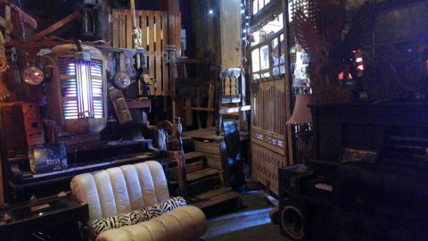 The interior of The Ghost Ship was crammed with furniture and supplies.