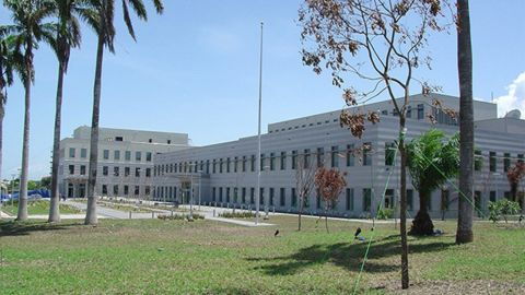 The exterior of the real US Embassy in Accra.