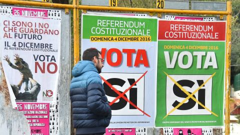 A man walks past campaign posters to vote for a referendum on constitutional reforms, on December 2, 2016 in Rome. Italy holds a referendum on December 4, 2016 on proposed constitutional reforms that are considered the most important in the eurozone country since World War II.  / AFP / Filippo MONTEFORTE        (Photo credit should read FILIPPO MONTEFORTE/AFP/Getty Images)
