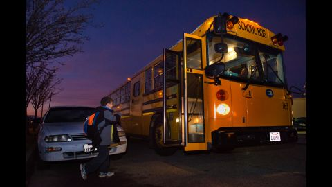 At 6:30 a.m., the bus arrives to take Daniel to school.