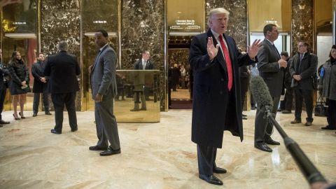 Trump speaks to members of the media at Trump Tower in New York on December 6.