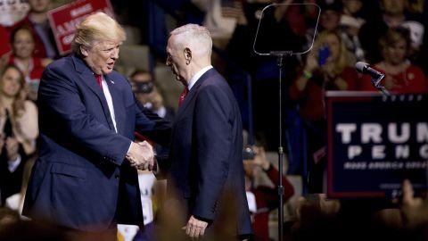 "Trump greets retired Marine Gen. James Mattis at a rally in Fayetteville, North Carolina, on Tuesday, December 6. Trump said <a href=""http://www.cnn.com/2016/12/01/politics/james-mattis-trump-secretary-of-defense/"" target=""_blank"">he would nominate Mattis</a> as his defense secretary."