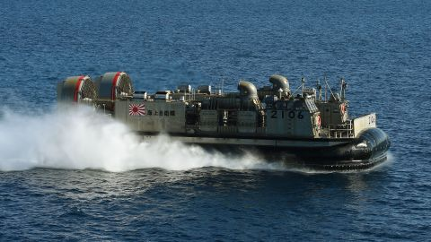 A Japanese LCAC (Landing Craft Air Cushion) hovercraft from the Japan Maritime Self-Defense Force ship JS Hyuga during the Dawn Blitz 2015 exercise off the coast of Southern California on September 3, 2015. Japan is developing amphibious forces that can retake Pacific islands.